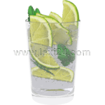 beverage with ice and lime
